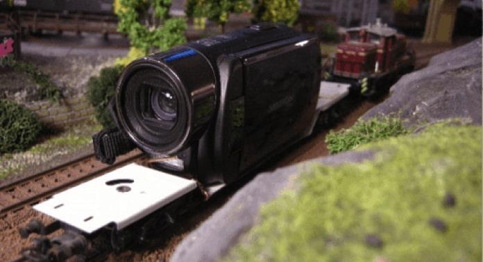 optag video af modeltogbane